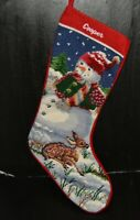 "Vtg wool needlepoint Christmas stocking COOPER w/ snowman & deer fawn 18"""