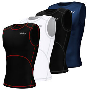 Mens Compression Armour Base Layer Tops Running Sleeveless Sports Skin Shirt FDX