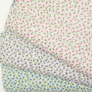 Vintage Small Flower FLORAL POLYCOTTON FABRIC PINK BLUE Material Fat Quarter