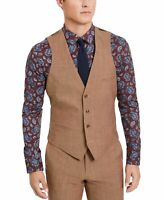 Bar III Mens Suit Vest Brown Size Medium M Slim Fit Four Button Wool $125 #050