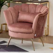 Pink Velvet Lotus Shape Single Sofa Scalloped Back Armchair Padded Ottoman Chair