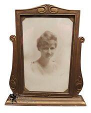 Art Nouveau Antique Carved Swing Frame W/ signed Female Portrait 1920s Photo