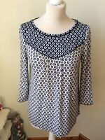 BODEN Blue Navy Star Print 3/4 Sleeve Shirt Blouse Top Size 8 Home Working