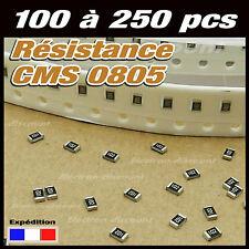résistance CMS 0805: 1k 1K2 1K5 1K8 2K2 2K7 3K3 3K9 4K7 5K6 6K8 8K2