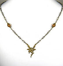 Queen Mab No Monet Necklace Gold Brown Diamond Shape Glass Drop Hand Crafted USA