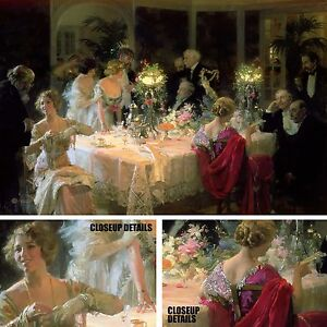"""36W""""x24H"""" THE END OF DINNER 1913 by JULES ALEXANDRE GRUN - THANKSGIVING CANVAS"""