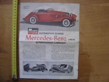 Notice prospectus brochure de montage MERCEDES BENZ 1963 Monogram AUTOMOBILE