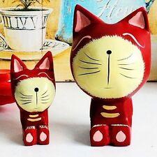 1Pair Zakka Nordic Wood Red Cat Kitten Statue Adorable Kitty Figurine Home Decor