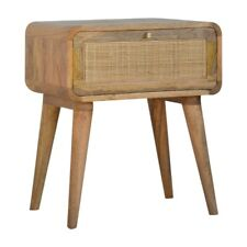 Curved Bedside Table Solid Mango Wood Woven Natural Rattan Handmade Furniture