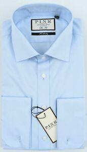"THOMAS PINK Men's Frederick Double Cuff Slim Fit Shirt, Pale Blue collar 16.5"" R"