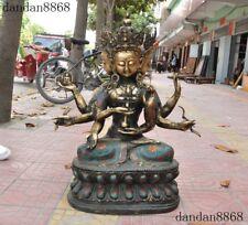 Old Tibet Bronze Cloisonne Gilt Namgyalma Ushnishavijaya Guanyin Buddha Statue
