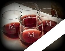 Letter M / Stemless Wine Glasses / Set of 2 / Etched Engraved / Lead-Free / 16