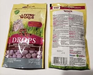 Living World DROPS Berry Flavored Hampster Treats 75g bag 2-pack