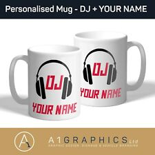 Personalised DJ Name Mug Cup Custom Design Image Name Logo Text Tea Coffee Gift