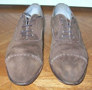 CLASSIC PAUL STUART DARK BROWN SUEDE LACE UP SHOES MADE IN ITALY SIZE 9.5M