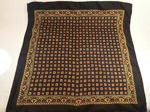Italian %100 Silk Scarf Pocket Square Handkerchief Hand Rolled Geometric