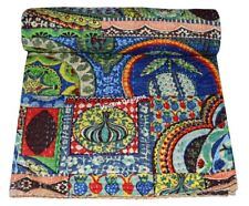 Indian Twin Kantha Quilt Multi Print Bedspread Cotton Throw Reversible Blanket
