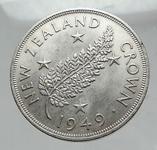 1949 NEW ZEALAND SILVER FERN PLANT Crown Coin under UK King George VI i63510