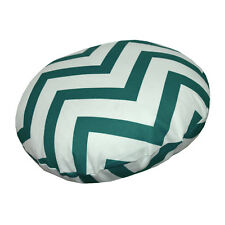 le04n Deep Green On Beige Zig Zag Cotton Canvas Round Cushion Cover/Pillow Case