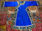 Breathtakingly Gorgeous Antique 19th Century Chinese Blue Silk Embroidered Robe