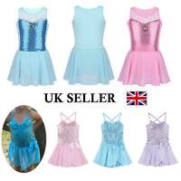 UK Child Girl Ballet Dance Dress Gymnastics Leotard Sequins Tutu Skirt Dancewear