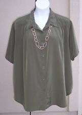 Maggie Barnes silky olive green big shirt top plus size 26w 3x button frt blouse