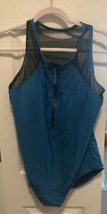 NWOT Speedo Teal Plus Zip Mesh One Piece Swimsuit 18 18W
