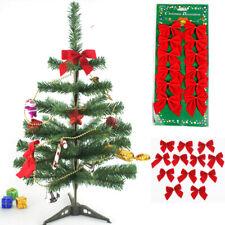 24 pcs Red Bowknot Xmas Tree Ornament Bow