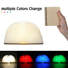 Mini Wooden Book Style Folding LED Lamp USB Rechargeable Table  Light Decor Gift