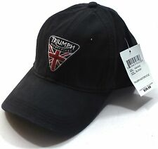Lucky Brand Triumph Motorcycle UK Flag Patch Black Baseball Hat Cap Adjustable
