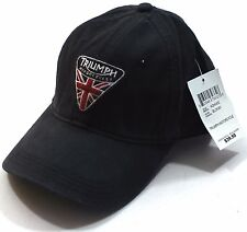 NWT Lucky Brand Triumph Motorcycle UK Flag Patch Black Baseball Hat Cap Adjust