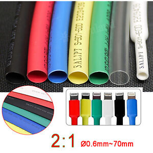 Heat Shrink Tube Electrical Sleeving Cable/Wire Tubing Various Colour and Size
