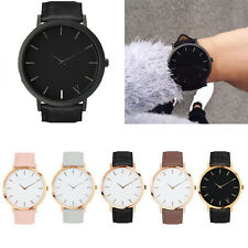 Fashion Women Men Casual Quartz Analog Gold Dial Leather Band Wrist Watches Hot