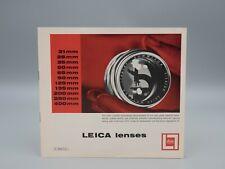 """Original 1961 """"LEICA LENSES"""" Camera Brochure"""