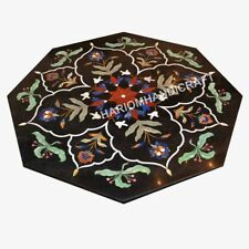 "36"" Marble Dining Table Top Rare Pietra Dura Work Inlay Collectible Gift E505A"
