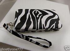 fits Iphone 5 smart phone Id holder zebra print black white wallet wristlet xmas