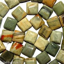 SILVER LEAF JASPER STONE BEADS DOUBLE SQUARE 2 HOLE 10X10MM BEAD SQUARES SD6
