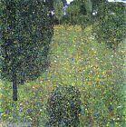 Landscape Garden Meadow in Flower by Gustav Klimt Giclee Canvas Print