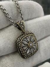 18k Yellow Gold Sterling Silver Natural Diamonds Cushion Halo Snowflake Pendant