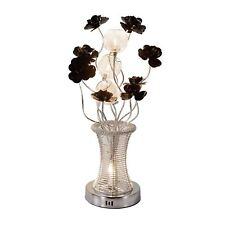 Contemporary Handmade Aluminium Black Flower Silver Wired Vase LED Table Lamp