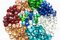 100 (app 450g) Coloured Glass Pebbles 20mm Home Wedding Mosaic Garden 15 Colours