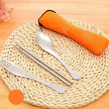 Fork Spoon Stainless Steel Chopstick Cutlery Travel Outdoor Portable & Bag Set