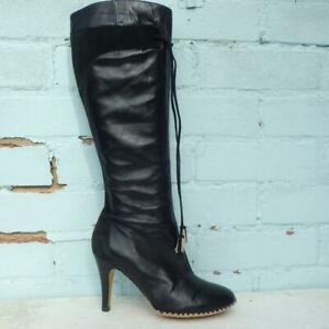 French Connection Leather Boots Size UK 5 Eu 38 Womens FCUK Tassels Black Boots