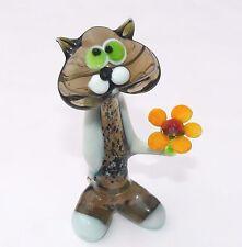 MURANO ART GLASS Lampwork Glass CAT Handmade Gift Collectible Figurine Kitty