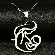 Mother's Day Birthday Gift Stainless Steel Mom Baby Pendant Necklace Jewelry