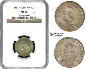 ZM622, Argentina, 20 Centavos 1883, Silver, NGC MS63