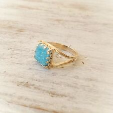 Blue Druzy Ring Gold Filled 14K Cocktail DRUZI Stone Ring FREE SHIPPING