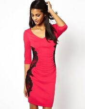 Lipsy Bodycon New Dress Size 8 Pink Black Chrochet Lace Sleeve Party Occasion