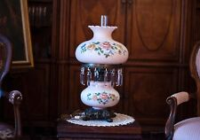 Antique Large GWTW Early 1900 Parlor Lamp Blown Glass Beautifully Painted