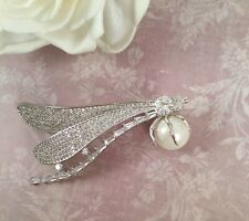 Vintage Jewellery Silver Dragonfly Brooch Pin Pearl Antique Deco Jewellery